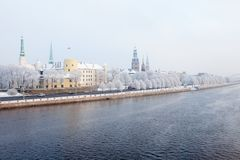 Riga, Lettland Riga-Stadtbild im Winter Stockfotografie