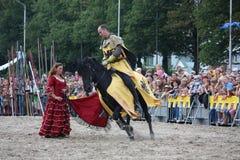 RIGA, LETTONIA - 21 AGOSTO: Dan Naprous dai cavallerizzi s dei diavoli Fotografia Stock Libera da Diritti