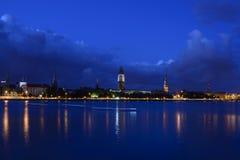 Riga, Lettonia, Europa, dal ponte di dienvidu Immagini Stock