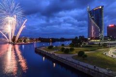 Riga, Lettonia, Europa, dal ponte di dienvidu Fotografia Stock Libera da Diritti