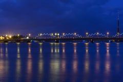 Riga, Lettonia, Europa, il ponte ferroviario Immagine Stock Libera da Diritti