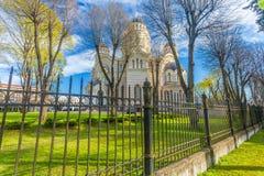 RIGA, LETTONIA - 6 MAGGIO 2017: Vista su natività del ` s di Riga della cattedrale di Cristo che è situata nel centro urbano di R immagine stock libera da diritti
