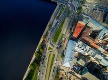 Riga, Lettonia - settembre 2016: Vista aerea sopra oldtown Fotografia Stock Libera da Diritti