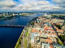 Riga, Lettonia - settembre 2016: Vista panoramica aerea sopra oldtown Fotografie Stock