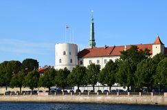 Riga, Lettonie, le 15 juillet 2015 Château de Riga Le château est une résidence pour un président de la Lettonie Photos stock
