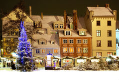 Riga, livu area and house  on Christmas. Royalty Free Stock Images