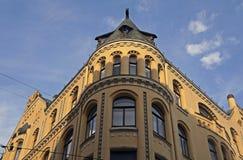 Riga, Meistaru 10, una casa con los gatos Foto de archivo