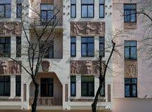 Riga Miera gata 54, Art Nouveau, beståndsdelar av fasaden Arkivbild