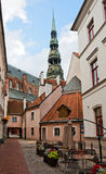 Riga, narrow street in old city Stock Images