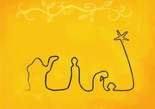Riga natività su colore giallo Immagini Stock Libere da Diritti