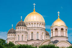 Riga Nativity Of Christ Cathedral - Famous Church On Blue Sunny Stock Photo