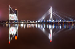 Riga nattstad arkivbild