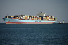 Riga nave porta-container di Maersk Fotografia Stock