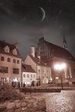Riga at night. stock image