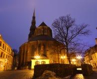 Riga in the night. Latvia Royalty Free Stock Photography