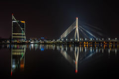 Riga at night royalty free stock photos