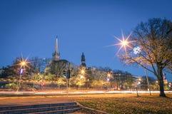 Riga by night - Skyline cityscape of latvian baltic city Stock Photo