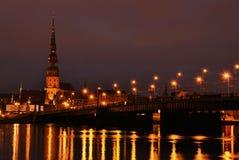 Riga. Night view from left bank of the river Daugava; Latvia Royalty Free Stock Photos