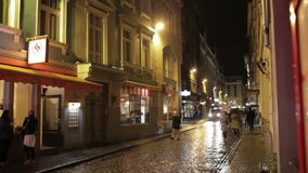 Riga, old city, night life. stock video footage