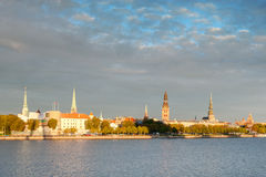 Riga Old town and the Daugava river Stock Photography
