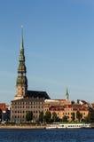 Riga, old town, and river Daugava Royalty Free Stock Photos
