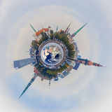 Riga old town skyline tiny planet Stock Photography