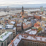 Riga Panorama of Old Town River Stock Photos