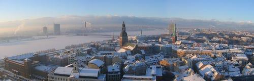 Riga panoramic. Panoramic view of winter time Riga and Daugava river Royalty Free Stock Images