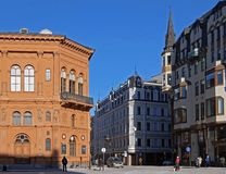 Riga, place de dôme, carrefours des rues historiques image libre de droits