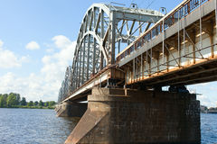 Riga railway bridge, Latvia. Royalty Free Stock Images