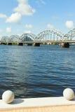 Riga railway bridge, Latvia. royalty free stock photo