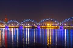 Riga. Railway bridge at night Royalty Free Stock Photos