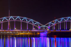 Riga. Railway bridge at night Stock Photo