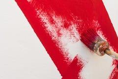 Riga rossa di verniciatura Fotografia Stock