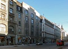 Riga, rue Kryshyana Barona, quart historique image stock