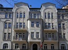 Riga Rupniecibas 11, lägenhethus i Art Nouveau stil Arkivbilder