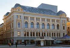 Riga rysk teater Chekhova på Liv Square Arkivfoto
