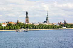 Riga's old town and Daugava river Royalty Free Stock Photography