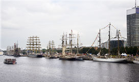 Riga.Sailing vessels of the international regatta in port. Royalty Free Stock Photos