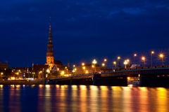 Riga Skyline at night Royalty Free Stock Images
