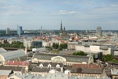 Panoramic view of Riga stock images
