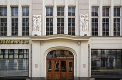 Riga, Smilshu 3, éléments d'extrémité d'entrée principale d'Art Deco images libres de droits