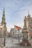 Riga Snow Starts Falling Royalty Free Stock Photos