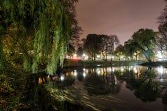 Riga stadskanal på natten Fotografering för Bildbyråer