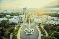 Riga-Stadt-Sonnenaufgang färbt alte Stadtansicht Lizenzfreies Stockbild