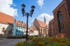 Riga street. Medieval center street in the old Riga city, Latvia Stock Photography