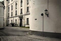 Riga street. Street photo of Rigga's tenement house. Latvia Royalty Free Stock Images