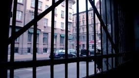 Riga street view from backyard stock footage