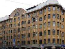 Riga Terbatas 59-61, Art Nouveau, beståndsdelar av fasaden Arkivfoto