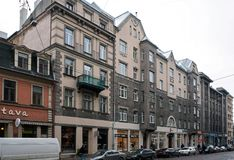 Riga Terbatas 2-8, Art Nouveau gata Arkivbilder